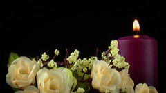 Candle and Flowers - stock footage