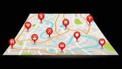City map animation with satellite gps pin point location in black isolated Stock Footage