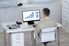 Rear view of businessman analyzing financial graphs on computer at desk in of Stock Photos