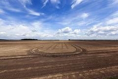 Plowed agricultural field Stock Photos