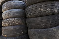 Old car tires Stock Photos
