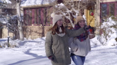 Best Friends Go For A Walk In Their Snow Covered Neighborhood Stock Footage