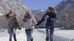 Happy Teens Hold Hands And Skip Toward Camera, Laughing And Smiling All The Way Stock Footage