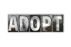 Adopt Concept Isolated Metal Letterpress Type - stock illustration