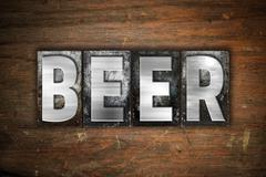 Beer Concept Metal Letterpress Type - stock illustration