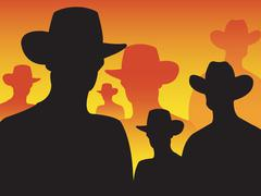 Cowboy silhouette Stock Illustration