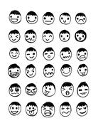Face people sketch Crowd of funny peoples - stock illustration