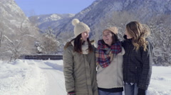 Group Of Teens Smile/Laugh And Pose For Portrait In Beautiful Utah Mountains Stock Footage