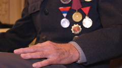 Stock Video Footage of war hero with medals,hands