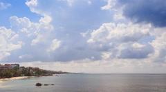 Azure Sea Bay Palm Trees on Coast Golden Sand Beach Blue Sky Stock Footage