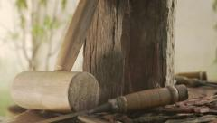 4 Sculptor Tools Hammer Chisel And Wooden Block On Table - stock footage