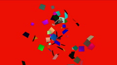 Stock Video Footage of 4k Paper card scrap,explosion shred,wedding fireworks particle,pollution spread