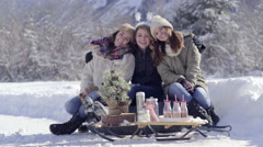 Group Of Teen Friends Pose/Smile/Hug For Portrait With Cute Christmas Setup Stock Footage