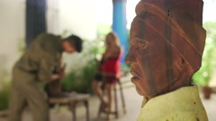9 Closeup Wooden Statue Sculptor And Model Working In Atelier - stock footage