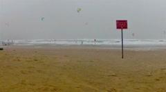 Kitesurfers on the beach of Tel Aviv Stock Footage
