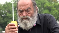 Bearded Alcoholic Old Man Stock Footage