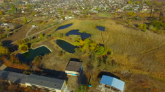 Flying over water treatment plants Stock Footage