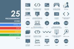 Set of programming icons - stock illustration