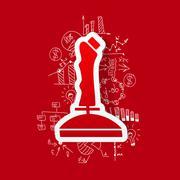 Stock Illustration of Drawing business formulas: joystick