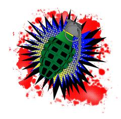 Grenade Comic Exclamation - stock illustration