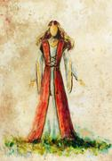 Stock Illustration of painting of woman medieval historic dress on paper, designer sketch