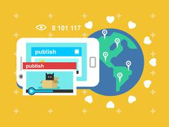 Share video publish Stock Illustration