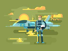 Military pilot man - stock illustration