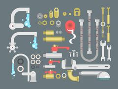 Set plumbing parts - stock illustration