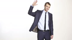 Body language. man in business suit isolated white background. Training managers Stock Footage