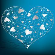 Elegant filigree heart in vector format.. - stock illustration