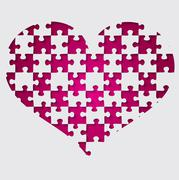 Cut out jigsaw heart in vector format. - stock illustration