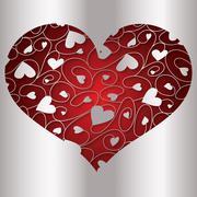 Elegant cut out filigree heart in vector format.. - stock illustration