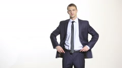 body language. man in business suit isolated white background. Training managers - stock footage
