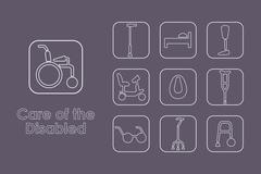 Set care of the disabled simple icons - stock illustration