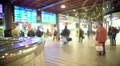 Travelers walking with luggage across railway station hall, waiting for trains 4k or 4k+ Resolution