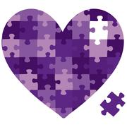 Cut out jigsaw heart in vector format.. - stock illustration