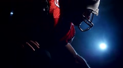 American football sportsman accepts a rack Stock Footage