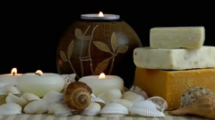 Spa Concept with Seashells and Soaps - stock footage