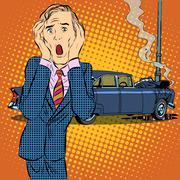 Stock Illustration of Car accident man panic