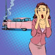 Female driver car accident - stock illustration
