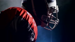 American football sportsman player corrects a helmet Stock Footage