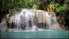Erawan Waterfall in deep forest of Thailand Stock Footage