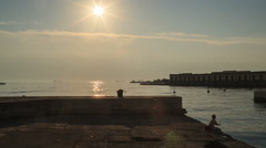 Trieste at sunset - stock footage