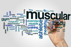 Muscular word cloud concept Stock Illustration