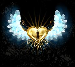 Mechanical heart with white wings - stock illustration