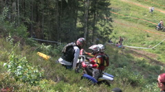 Extreme race in enduro with a very difficult track ski slope Stock Footage