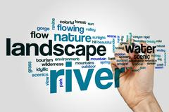 River word cloud concept - stock illustration