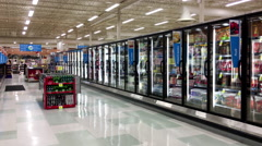 Dairy and fozen food corridor in Save on Foods - stock footage