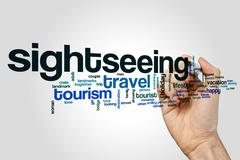 Sightseeing word cloud concept Stock Illustration