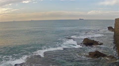 Acre sea view from the walls of the old town - stock footage